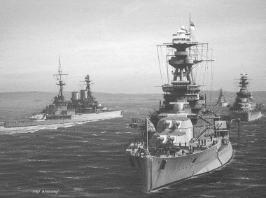 B139.  HMS Royal Oak by Ivan Berryman. <p>The R-class battleship Royal Oak lies at anchor in Scapa Flow between the wars ahead of her sisters Royal Sovereign and Revenge.  HMS Repulse is passing the line on the left of the picture <b><p> Signed limited edition of 1150 prints. <p> Image size 12 inches x 7 inches (31cm x 18cm)