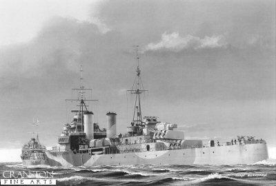HMS Jamaica by Ivan Berryman.