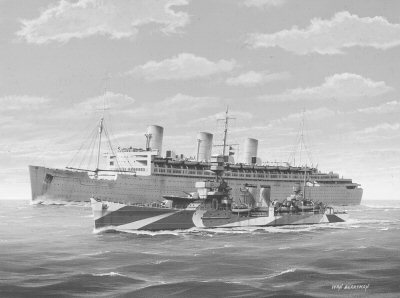 HMS Durban Escorts the Troopship RMS Queen Mary by Ivan Berryman.