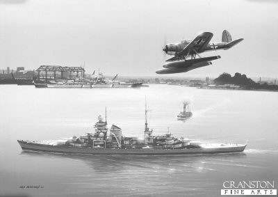 B206.  Prinz Eugen by Ivan Berryman. <p> The heavy cruiser Prinz Eugen slips quietly through the waters of Kiel Harbour as one of her own Arado Ar.196s flies overhead. In the background, Bismarck, wearing her Baltic camouflage, is alongside taking on supplies. <b><p> Signed limited edition of 1150 prints.  <p>Image size 12 inches x 7 inches (31cm x 18cm)