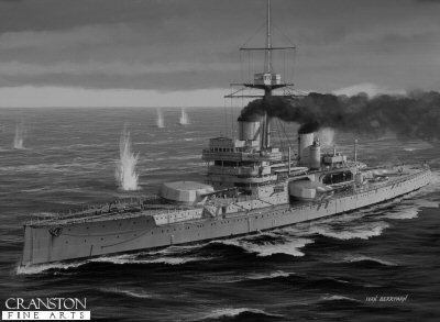 B216.  HMS Colossus by Ivan Berryman. <p>Together with her sister ship, Hercules, HMS Colossus acquitted herself well at the Battle of Jutland where she fired 93 12in rounds, but received only two hits from enemy fire which caused minor damage and left nine crew injured.  She was sold for scrap in 1928. <b><p> Signed limited edition of 1150 black and white prints. <p> Image size 12 inches x 7 inches (31cm x 18cm)
