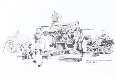 B3. German 88mm Flak / Artillery by Randall Wilson. <p> 88mm flak artillery piece also used as a very successful anti-tank gun. <b><p> Signed open edition print.  <p>Image size 25 inches x 16.5 inches (64cm x 42cm)
