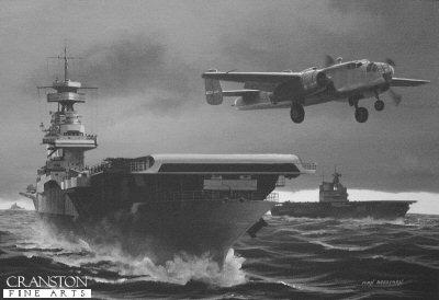 Tokyo Raid, Doolittles B25 Launch from USS Hornet by Ivan Berryman (P)