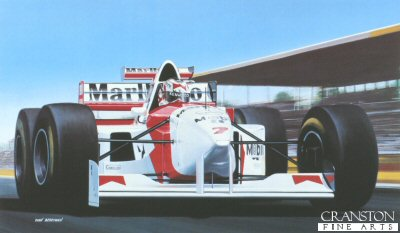 Nigel Mansell, McLaren MP4/10/B by Ivan Berryman.