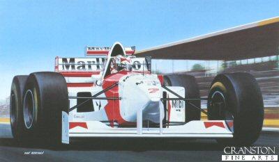 Nigel Mansell, McLaren MP4/10/B by Ivan Berryman.