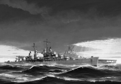 USS Oakland Escorting the Damaged USS Lexington by Ivan Berryman