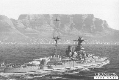 HMS Malaya at Capetown by Ivan Berryman.