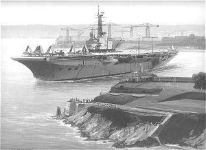 HMS Centaur Departing Devonport by Ivan Berryman.