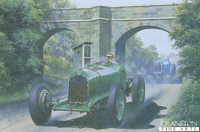 B80.  Bravo Shuttleworth by Ivan Berryman. <p>Richard Ormonde Shuttleworth roars under Starkeys Bridge during the International Donington Grand Prix Car Race in his ex-Brian Lewis Alfa Romeo Monoposto on 5th October 1935.  It was a rce this young daredevil aristocrat was to win handsomely in the face of some very stiff opposition, taking home the Donington Park Challenge Trophy and 400 pounds for his efforts.<b><p>Signed limited edition. <p> Image size 9 inches x 6 inches (23cm x 15cm)