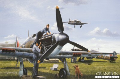 B0099E. Ground Force by Ivan Berryman. <p> Routine, though essential, maintenance is carried out on a 501 Sqn Hurricane at the height of the Battle of Britain during the Summer of 1940.  Hurricane P3059 <i>SD-N</i> in the background is the aircraft of Group Captain Byron Duckenfield.<b><p>Signed by Group Captain Byron Duckenfield AFC (deceased)<br>and<br>Flying Officer Ken Wilkinson. <p>Wilkinson / Duckenfield signature edition of 300 prints from the signed limited edition of 1150 prints. <p> Image size 17 inches x 12 inches (43cm x 31cm)