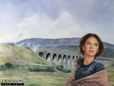 Female portrait with Railway viaduct by Chris Collingwood.