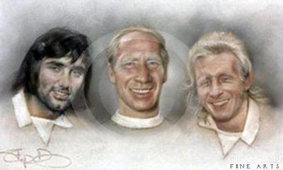 Three Kings - George Best, Bobby Charlton and Dennis Law by Stephen Doig.