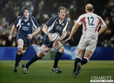 Jason White leads Scotland to victory over England to win the Calcutta Cup in 2006 by Robert Highton. (P)