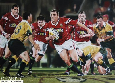 Rob Henderson supported by Jonny Wilkinson and Brian O'Driscoll during the British and Irish Lions Tour against Australia in 2001 by Robert Highton.