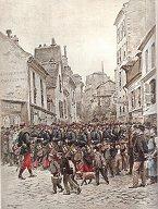 Infanterie de Ligne - Arrivee a LEtape; Grande Manoeuvres by Edouard Detaille (P)