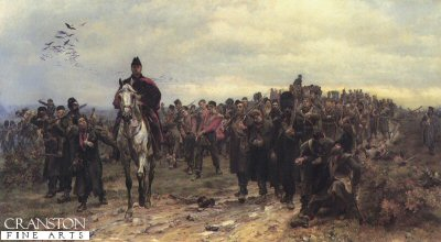 DHM002.  Return from Inkerman by Lady Elizabeth Butler. <p>A column of exhausted and wounded men of the Coldstream Guards and the 20th East Devonshire regiment returning from the heights of Inkerman, 5th November 1854, during the Crimean War. <b><p> Open edition print. <p> Image size 30 inches x 15 inches (76cm x 38cm)