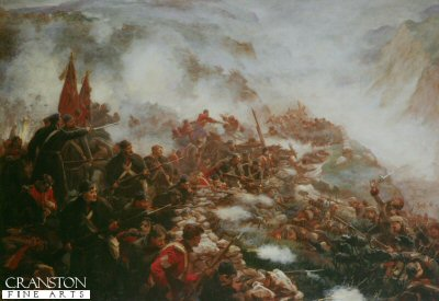 DHM003.  The Barrier by Marjorie Weatherstone. <p>Depicting the Royal Scots Fusiliers holding position in the heights of Inkerman against the Russian advance during the Crimean War. <b><p> Open edition print. <p> Image size 20 inches x 14 inches (51cm x 36cm)