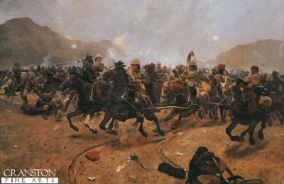 DHM006. Saving the Guns at the Battle of Maiwand by Richard Caton Woodville. <p> In July 1879 during the Afghan Campaign. Ayub Khan and an army of over 35,000 warriors were marching onto Kandahar. The British force under the command of General Burrows decided to fight. With a force, no more than 3,300 strong, took up position in a tiny hamlet of Mahmudabad, within 2 hours many of the British had been slaughtered, but with nightfall the remnants of the brigade retreated. The picture shows C battery of the Royal Horse Artillery withdrawing with the enemy in hot pursuit. <b><p> Open edition print. <p> Image size 30 inches x 19 inches (76cm x 48cm)