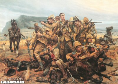 DHM008. All That Was Left of Them by Caton Woodville <p> Illustrates the scene at Modderfontein Farm where a squadron of the 17th lancers were pinned down by a large Boer force, and fought to the finish.  Modderfontein Farm in the Eastern Cape, about 10 miles from Tarkastad, was the the battle on the 17th September 1901, between the 17th Lancers who had camped there, and General Jan Christiaan Smut&#39;s Boer Commandos.  C squadron of the 17th Lancers lost 3 Officers and 35 troopers, a single action in which the 17th Lancers lost more men in one day than any other day, inclduing that of the infamous charge of the Light Brigade.  Also killed that day were three gunners from the Royal Garrison Artillery.  Another account states that out of 130 men, 29 were killed and 41 wounded.  All Officers had been killed or wounded.<b><p> Open edition print. <p> Image size 20 inches x 14 inches (51cm x 36cm)