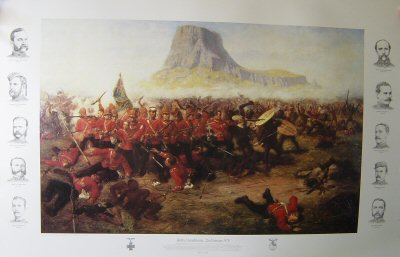 DHM0084A. Battle of Isandhlwana by Charles Fripp. (A) <p>On the 11th January 1879, a British Force under the command of Lord Chelmsford crossed the Buffalo River into Zululand.  A small garrison was left at Rorkes Drift.  The force consisted of 1600 British troops, mainly from the 1st and 2nd Battalions 24th Regiment, and 2500 native soldiers.  A tented camp was established at Isandhlwana Hill.  At 4am on the morning of 22nd January, Lord Chelmsford took half his force to reconnoitre to southeast in search of main Zulu army.  Just after 8am a force of 25000 Zulu warriors attacked the remainder of the force in the camp.  Surprised, outnumbered by more than six to one, in a position offering little defence, the defenders were soon overpowered and a dreadful slaughter ensued.  A few men escaped and re-crossed the Buffalo River to safety.  Victoria Crosses were awarded to Lieutenants Melvill and Coghill, who saved the Queens Colour of the 1st/24th and to Private Wassell, 90th Foot, who saved a comrade while escaping across the Buffalo River. Includes 10 printed remarques of main characters at the battle, 5 down each side. <b><p>Special Collectors Edition with printed remarques and medals in the border.<p> Image size 32 inches x 20 inches (81cm x 51cm)