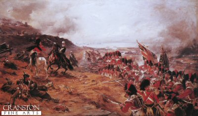 DHM012.  Alma Forward the 42nd by Robert Gibb. <p>The Black Watch advance up the slopes of the hills overlooking the River Alma, defeating the Russian defenders. A British Victory in the Crimean Campaign. <b><p> Open edition print. <p> Image size 30 inches x 18 inches (76cm x 46cm)