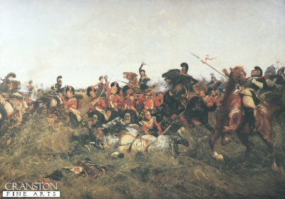 DHM015.  Quatre Bras (Black Watch at Bay) by William Barnes Wollen. <p>At the height of the Battle of Quatre Bras, 16th June 1815, the French Cavalry almost broke through Wellingtons positions. One Regiment of the 69th was decimated and lost its colour as it tried to form square. Another of the Black Watch received a terrible mauling by General Pires Lancers, as it formed square (depicted here) Reproduced by permission of the trustees of the Black Watch. <b><p> A restricted print run published in the late 1980s by permission of the Regimental Trustees of  The Black Watch.<p> Image size 30 inches x 20 inches (76cm x 51cm)