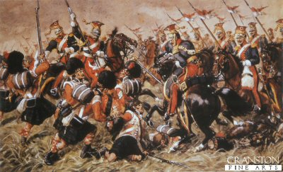 DHM018.  Death of Colonel McCara (Blackwatch at Quatrebras) by Richard Simkin. <b><p>A restricted print run published in the late 1980s by permission of the Regimental Trustees of  The Black Watch. <p> Image size 14 inches x 10 inches (36cm x 25cm)