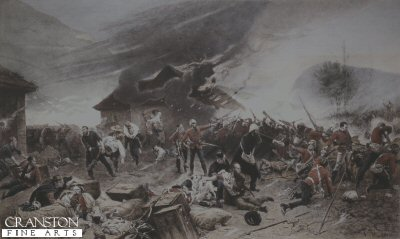 DHM022B.  Defence of Rorkes Drift by Alphonse De Neuville. <p>By about 6pm the Zulu attacks had extended all around the front of the post, and fighting raged at hand-to-hand along the mealie-bag wall. Lieutenant Chard himself took up a position on the barricade, firing over the mealie-bags with a Martini-Henry, whilst Lieutenant Bromhead directed any spare men to plug the gaps in the line. The men in the yard and on the front wall were dangerously exposed to the fire of Zulu marksmen posted in the rocky terraces on Shiyane (Oskarsberg) hill behind the post. Several men were hit, including Acting Assistant Commissary Dalton, and Corporal Allen of the 14th. Surgeon Reynolds treated the wounded as best he could despite the fire. Once the veranda at the front of the hospital had been abandoned, the Zulus had mounted a determined attack on the building itself, setting fire to the thatched roof with spears tied with burning grass. The defenders were forced to evacuate the patients room by room, eventually passing them out through a small window into the open yard. Shortly after 6pm Chard decided that the Zulu pressure was too great, and ordered a withdrawal to a barricade of biscuit boxes which had been hastily erected across the yard, from the corner of the store-house to the front mealie-bag wall. In this small compound the garrison would fight for their lives throughout most of the coming night.<p>Print of a coloured engraving.  <b><p> Open edition print. <p> Image size 14 inches x 9 inches (36cm x 23cm)