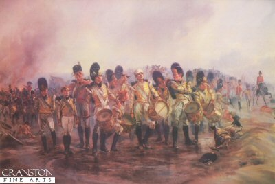 DHM032.  Steady the Drums and Fifes by Lady Elizabeth Butler. <p>The drummer boys of the 57th (die-hards) drawn up under fire on the ridge of Albuera, (16th May 1811), Peninsula war.  <b><p> Open edition print. <p> Image size 30 inches x 20 inches (76cm x 51cm)