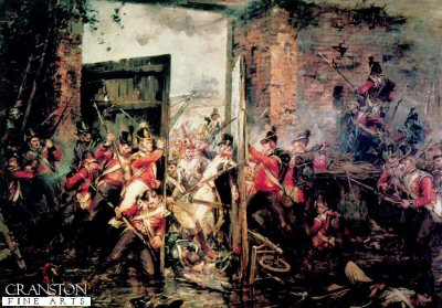 DHM058.  Hougoumont by Robert Gibb. <p>Showing the 1st Foot Guards and The Coldstream Guards struggling to close the gates at Hougoumont Farm against the Heavy French forces at the Height of the the battle of waterloo. During the Battle of waterloo the 1st Foot Guards and the Coldstream Guards losses were as follows. 1st Foot Guards, 125 Killed, 352 Wounded, and the Coldstream Guards losses, were 97 killed and 446 wounded and four missing.<b><p>Open edition print. <p> Image size 29.75 inches x 21 inches (75cm x 53cm)