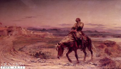 DHM062.  Remnants of an Army by Lady Elizabeth Butler. <p>Depicts Dr. William Brydon, an assistant surgeon in the Bengal Army arriving at the gates of Jellabad on his exhausted and dying horse. He was thought to be the sole survivor of some 16,000 strong army and followers from Kabul, which was forced to retreat the 90 miles over snow covered passes to Jellabad during the first Aghan war. A few others eventually struggled through to the fort. <b><p> Open edition print. <p> Image size 30 inches x 17 inches (76cm x 43cm)