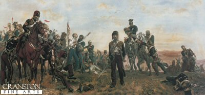 DHM068.  Balaclava by Lady Elizabeth Butler. <p>The remnants of the Light Brigade (Hussars, Lancers, and Light Dragoons) returning from the disastrous charge during the Battle of Balaclava, 25th October 1854. <p>This lithographic print has been reproduced from an original hand coloured lithograph from 1902.  Under the image is printed the poem by Alfred Lord Tennyson, The Charge of  The Light Brigade. <b><p> Open edition print. <p> Image size 32 inches x 15 inches (81cm x 38cm)