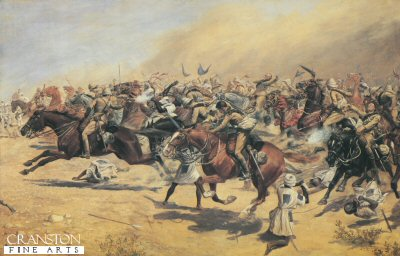 Charge of the 21st lancers by George Derville Rowlandson.