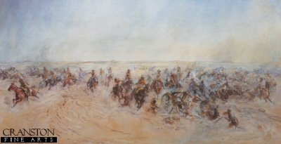DHM093.  The Charge of the Warwickshire and Worcestershire Yeomanry at Huj by Lady Elizabeth Butler. <p>One of the last cavalry charges in British Military history, 8th November 1917. <b><p>Restricted Print Run<p> Image size 23 inches x 12 inches (59cm x 31cm)