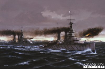 P1002. HMS Lion at the Battle of Jutland by Ivan Berryman. <p>HMS Lion with her sister ship HMS Princess Royal are shown firing on the German High Seas Fleet which can be seen in the distance during the Battle of Jutland.<b><p>Postcard<p> Postcard size 6 inches x 4 inches (15cm x 10cm)