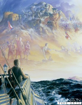 DHM1008.  The End of the Jacobite Dream by Brian Wood. <p>Charles Edward Stuart on Board a French Warship bound for France, takes his last look at Scotland disappearing from view and reflects over the events of the previous year and what might have been. <b><p> Signed limited edition of 1150 prints. <p> Image size 25 inches x 17 inches (64cm x 43cm)