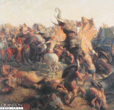 DHM1012.  The Last Great Battle by Tom Lovell. <p>Alexanders infantry and cavalry overwhelm the Indian army of King Porus at the Jhelum River. Maddened by the disaster the kings elephants kept colliding with friends and foes alike, according to Arrian. Soon after the victory, Alexanders men, weary and homesick, demanded that he turn back.<b><p>Resricted print run published in 1999 and licensed by National Geographic to publish only 400 prints.<p> Image size 25 inches x 23 inches (64cm x 58cm)