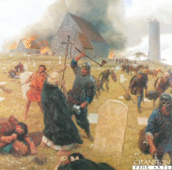 DHM1013.  Norse Marauders Wreak Mayhem by Tom Lovell. <p> At Clonmacnoise, most celebrated of Irish monasteries. Scorning the cross, Pagans hack holy men to death, defile sanctuaries, rob golden objects that made churches the treasures of medieval Europe. Swift assault lets few reach haven in the round tower, its entry accessible only by ladder. <b><p> Resricted print run published in 1999 and licensed by National Geographic to publish only 400 prints. <p> Image size 25 inches x 23 inches (64cm x 58cm)