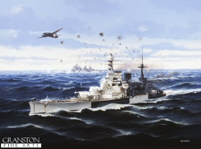 HMS Repulse with HMS Prince of Wales Under Attack by Ivan Berryman