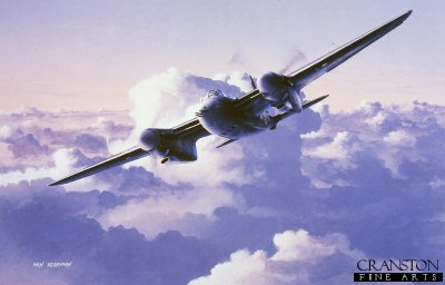 DHM1031C. A Moments Peace by Ivan Berryman. <p> A De Havilland Mosquito patrols high above the clouds. This versatile all-wooden aircraft first flew on the 25th of November 1940. This aircraft was used in a wide variety of roles, including as a fighter-bomber and as a Pathfinder for bombers. <b><p> Signed by Flight Lieutenant Brian Beattie. <p>Beattie signature edition of 80 prints from the limited edition of 150 prints. <p> Image size 12 inches x 8 inches (31cm x 20cm)