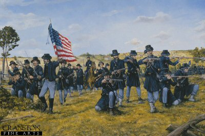 DHM1037.  The Iron Brigade During the Battle of Gettysburg, 1863 by Brian Palmer. <p>The crack Iron Brigade of Brigadier General Wadsworths 1st Division of the army of the Potomac were the first Infantry unit to arrive on the field of Gettysburg in support of Brigadier General Bufords cavalry division who had stumbled upon General Lees advancing Army of North Virginia. The Brigade suffered 1,200 casualties out of 1800 engaged in the battle. <b><p> Signed limited edition of 1150 prints. <p> Image size 25 inches x 16 inches (64cm x 41cm)