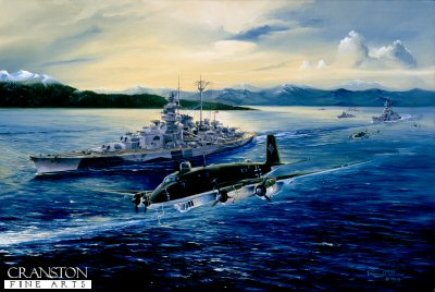 DHM1043.  Tirpitz by Randall Wilson. <p>Flanked by destroyers, Tirpitz departs Altafjord, July 1942.  Passing her port bow is a Focke-Wulf FW200 Condor C3, outbound for Recon duties.  Fighter escort was performed by Me110s.<b><p>Signed limited edition of 1150 prints. <p> Image size 25 inches x 14 inches (64cm x 36cm)