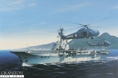 HMS Bulwark at Hong Kong by Ivan Berryman.