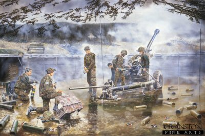 Light Gun of the 19th Regiment Royal Artillery in action, Mount Igman, Bosnia, 30th August 1995 by David Rowlands.