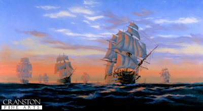 DHM1071.  Trafalgar Dawn by Graeme Lothian. <p>First daylight on the 21st October, saw the Royal Navy fleets together at a distance of about 12 miles. The day looked fine, a heavy swell from the west gave warning of an approaching storm. As dawn broke HMS Victory, Nelsons flagship and the rest of the fleet could be found in a shapeless huddle, which soon resolved itself into two divisions. Thus the two fleets prepared themselves for the coming battle which commenced just before noon. <b><p> Signed limited edition of 1150 prints. <p> Image size 25 inches x 14 inches (64cm x 36cm)