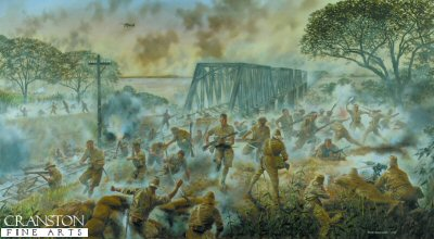 The 2nd Battalion Duke of Wellington's Regiment at the Battle of Sittang Bridge, Burma, February 1942 by David Rowlands.