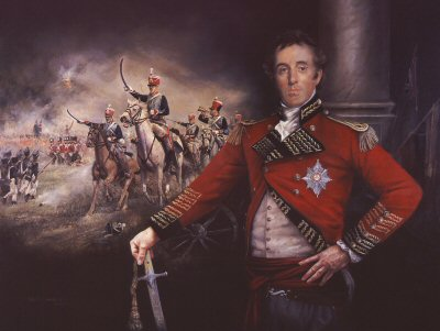 DHM1080.  Lt General Lord Wellington at Salamanca, 22nd July 1812 by Chris Collingwood. <p> Background battle detail shows 15th Hussars in summer campaign dress. <b><p> Signed limited edition of 1150 prints. <p> Image size 17 inches x 25 inches (43cm x 64cm)