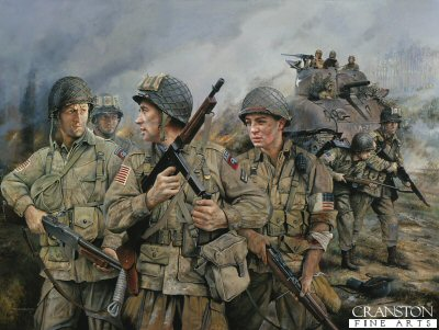 DHM1081AP. 82nd Airborne by Chris Collingwood. (AP) <p> Superb figure study of the 82nd Airborne in 1944. <b><p> Limited edition of 50 artist proofs.  <p>Image size 25 inches x 16.5 inches (64cm x 42cm)