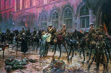 The 5th Lancers Re-enter Mons, November 1918 by Richard Caton Woodville  (B)