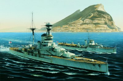 HMS Resolution at Gibraltar by Ivan Berryman (GL)
